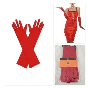 Hyde & Eek Adult Elbow Length Gloves Red NEW